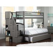 Westbrook Staircase Bunk Bed Twin over Full with Urban Trundle Bed in Atlantic Grey