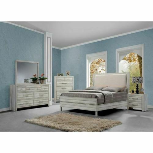 ACME Shayla Eastern King Bed - 23977EK - Fabric & Antique White