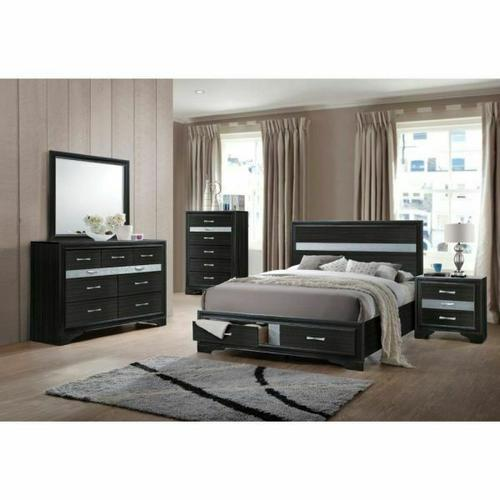 ACME Naima Queen Bed w/Storage - 25900Q - Black