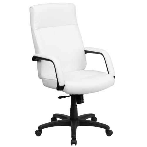 High Back White Leather Executive Swivel Chair with Memory Foam Padding with Arms