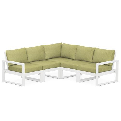 Polywood Furnishings - EDGE 5-Piece Modular Deep Seating Set in White / Chartreuse Boucle