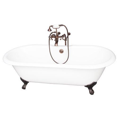 """Columbus 61"""" Cast Iron Double Roll Top Tub Kit - Oil Rubbed Bronze Accessories"""