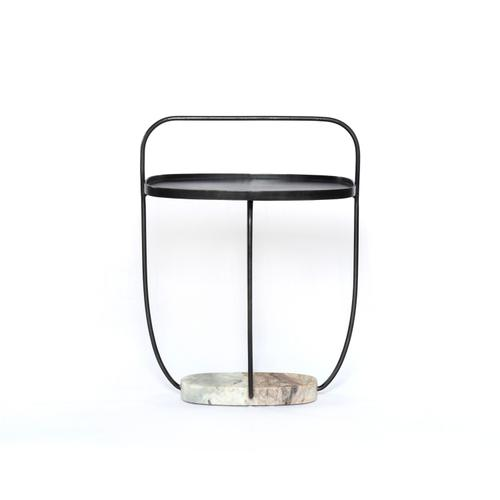 Anika End Table-hammered Grey