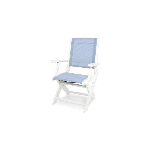 Polywood Furnishings - Coastal Folding Chair in White / Poolside Sling