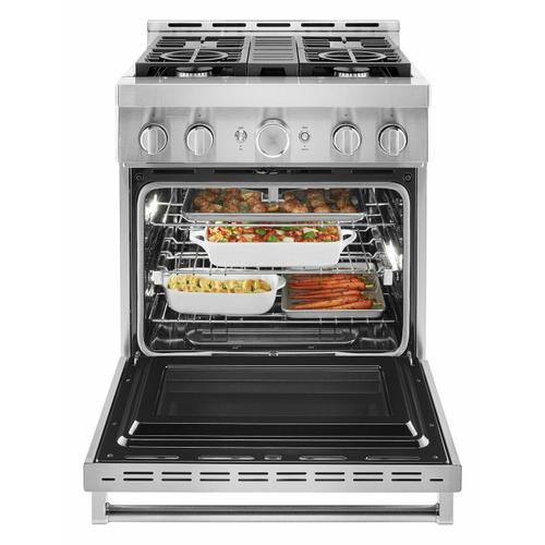KitchenAid - KitchenAid® 30'' Smart Commercial-Style Gas Range with 4 Burners - Heritage Stainless Steel