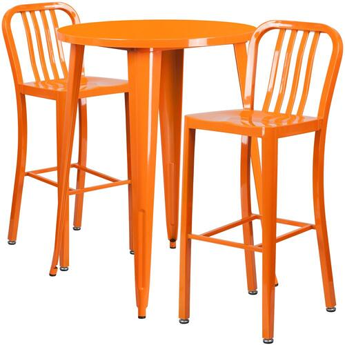 30'' Round Orange Metal Indoor-Outdoor Bar Table Set with 2 Vertical Slat Back Stools