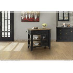 See Details - 1 Drawer, 1 Mesh Door Kitchen Island - Black finish