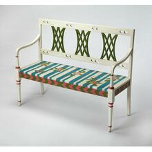 Add this stunning bench as a focal point in the living room, bedroom, hallway or entryway. Featuring a vibrant, whimsical hand painted striped floral motif with a hand carved back panel and clean lines, it is hand crafted from poplar hardwood solids and wood products.