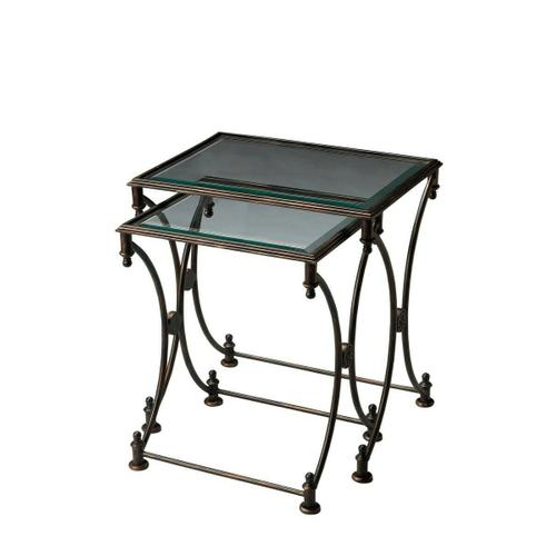Butler Specialty Company - Finished metal with inset clear untempered beveled glass tops.