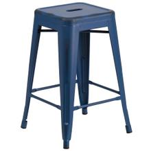 24'' High Backless Distressed Antique Blue Metal Indoor-Outdoor Counter Height Stool