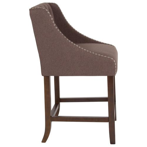 """24"""" High Transitional Tufted Walnut Counter Height Stool with Accent Nail Trim in Brown Fabric"""