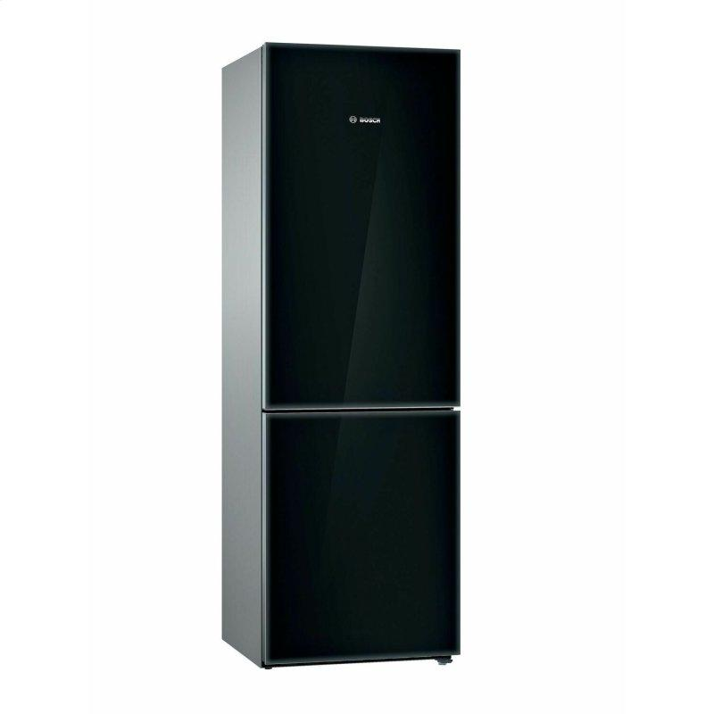 800 Series Free-standing fridge-freezer with freezer at bottom, glass door 23.5'' Black B10CB81NVB