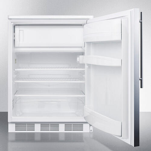 Product Image - Freestanding Refrigerator-freezer for General Purpose Use, With Dual Evaporator Cooling, Cycle Defrost, Lock, Ss Door, Thin Handle and White Cabinet