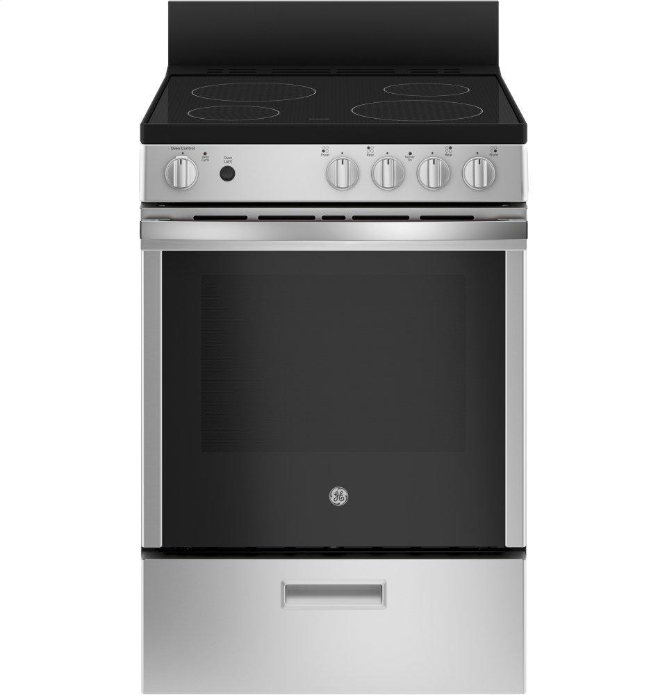 """GE24"""" Free-Standing/slide-In Front Control Range With Steam Clean And Large Window"""