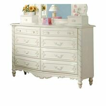 ACME Pearl Dresser - 01020 - Pearl White & Gold Brush Accent