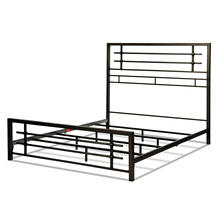 View Product - Colton Metal SNAP Bed with Folding Frame Bedding Support System and Industrial-Styled Metal Piping, Burnished Black Finish, King