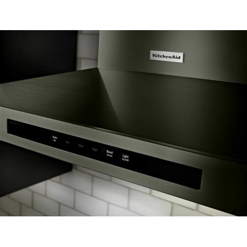 """KitchenAid - 36"""" Wall-Mount, 3-Speed Canopy Hood - Black Stainless Steel with PrintShield™ Finish"""
