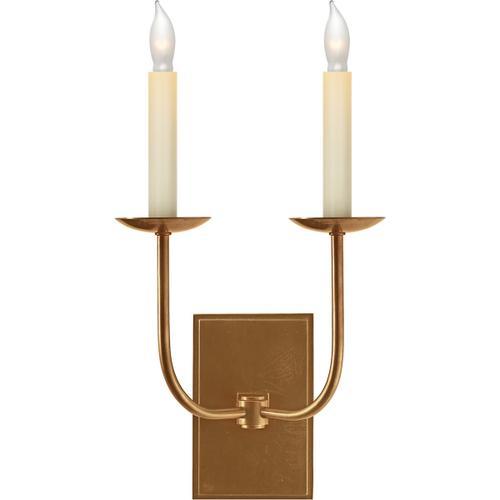 E. F. Chapman Tt 2 Light 10 inch Hand-Rubbed Antique Brass Decorative Wall Light