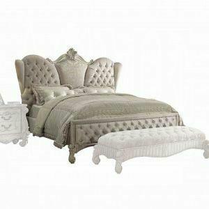 ACME Versailles Eastern King Bed - 21127EK - Ivory Velvet & Bone White