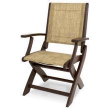 View Product - Coastal Folding Chair in Mahogany / Burlap Sling