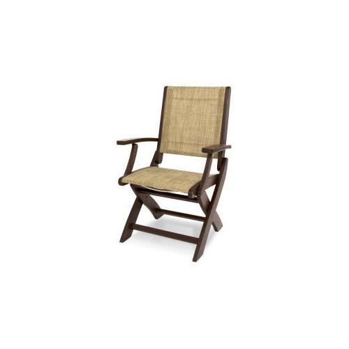 Polywood Furnishings - Coastal Folding Chair in Mahogany / Burlap Sling