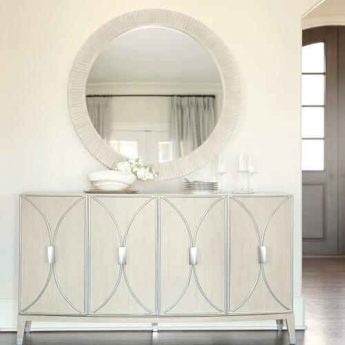 Bernhardt - East Hampton Round Mirror in Cerused Linen (395)