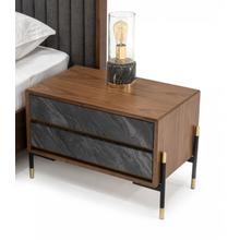 View Product - Nova Domus Metcalf - Mid-Century Walnut & Grey Nightstand