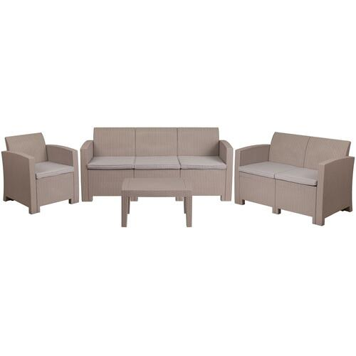 4 Piece Outdoor Faux Rattan Chair, Loveseat, Sofa and Table Set in Light Gray