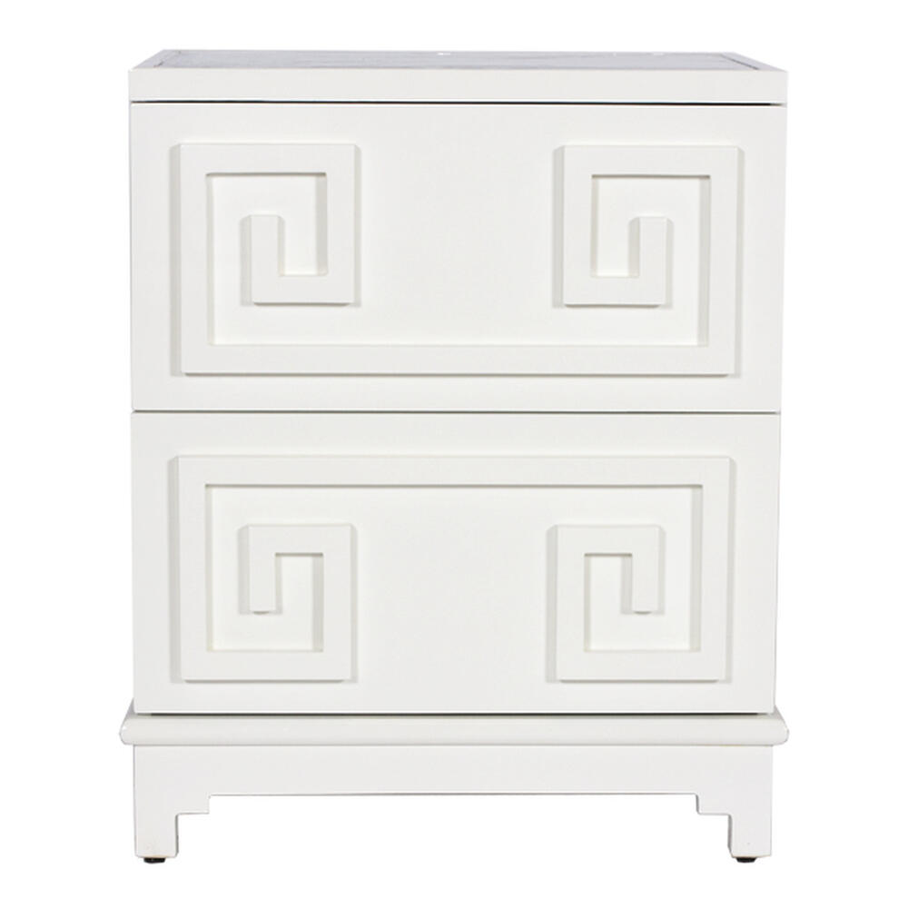 2 Drawer Greek Key Side Table In White Lacquer and Beveled Mirror Top. Both Drawers On Glides.
