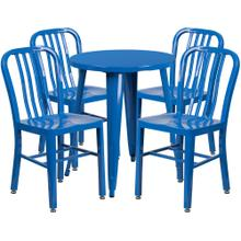 24'' Round Blue Metal Indoor-Outdoor Table Set with 4 Vertical Slat Back Chairs