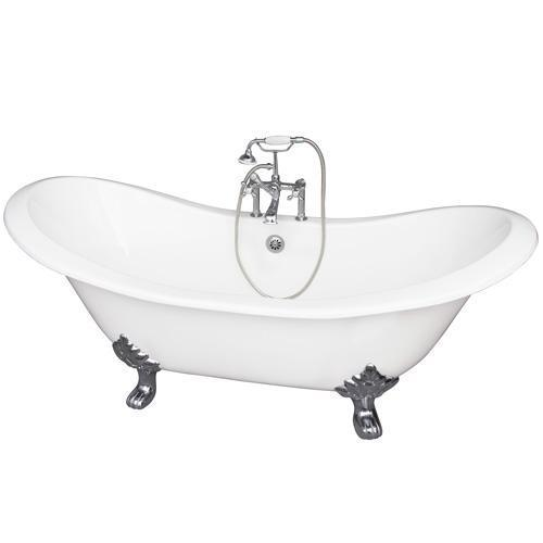 "Marshall 71"" Cast Iron Double Slipper Tub Kit - Polished Chrome Accessories"