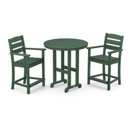Polywood Furnishings - Lakeside 3-Piece Round Counter Arm Chair Set in Green