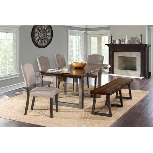 Gallery - Emerson 6pc Rectangle Dining Set With 1 Bench and 4 Chairs - Gray Sheesham