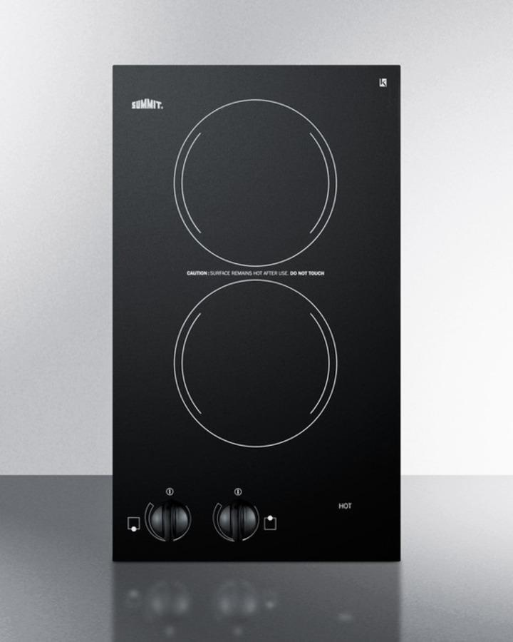 Summit220v Two-Burner Cooktop In Black Ceramic Glass, Made In Europe