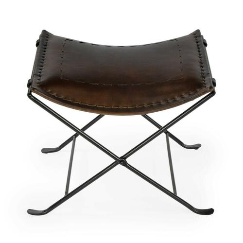 Butler Specialty Company - Leather meets iron for a simple seat. Ideal for any spot in your home. Great alone or in multiples. It's carefully stitched dark brown leather seat is supported by an understated black iron base that folds ealisy for storage.