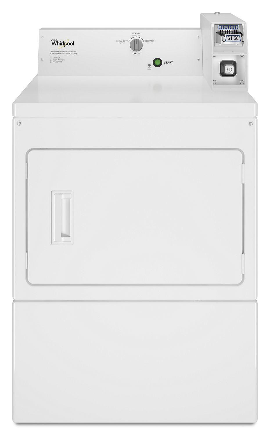 WhirlpoolCommercial Electric Super-Capacity Dryer, Coin-Slide And Coin-Box White