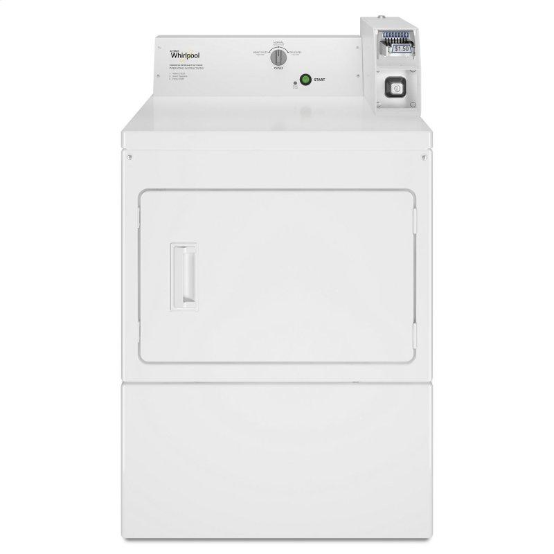 Commercial Electric Super-Capacity Dryer, Coin-Slide and Coin-Box White