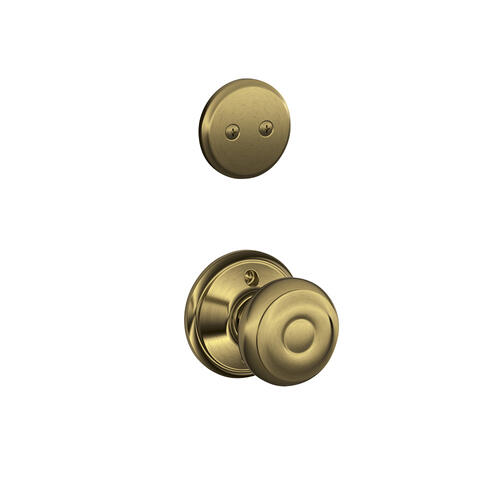 Plymouth In-active Handleset and Georgian Knob - Antique Brass