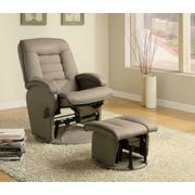 Casual Bone Faux Leather Vinyl Reclining Glider With Matching Ottoman Product Image