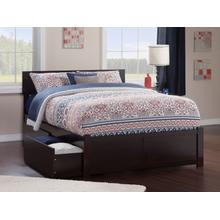 Orlando Queen Flat Panel Foot Board with 2 Urban Bed Drawers Espresso