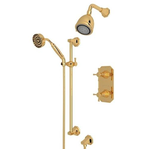 English Gold Perrin & Rowe Deco Thermostatic Shower Package with Deco Cross Handle