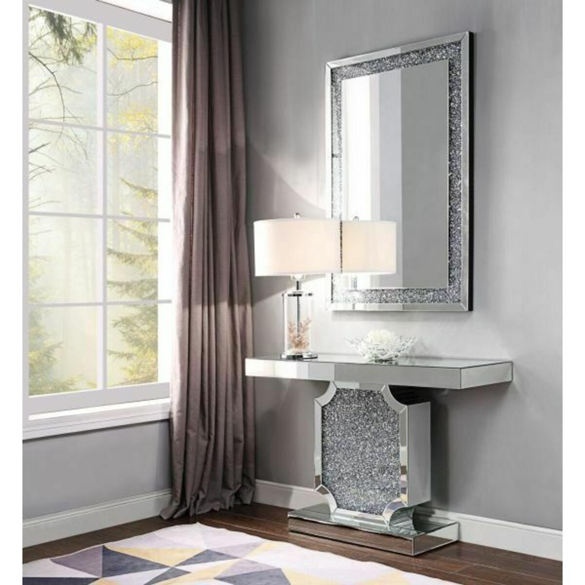 ACME Noralie Console Table - 90475 - Mirrored & Faux Diamonds