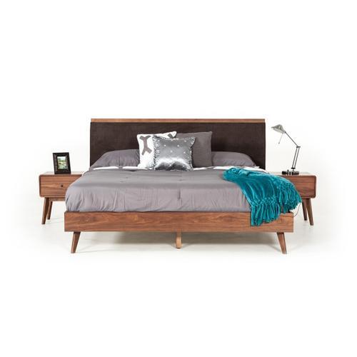 VIG Furniture - Modrest Marshall Mid-Century Modern Brown Fabric & Walnut Bed