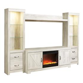 See Details - Bellaby 5 Piece Entertainment Set W/ Fireplace Insert Whitewash