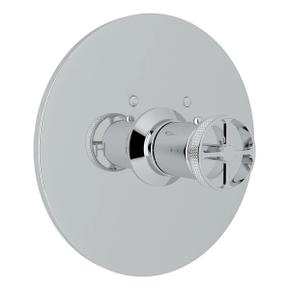 Campo Thermostatic Trim Plate without Volume Control - Polished Chrome with Industrial Metal Wheel Handle