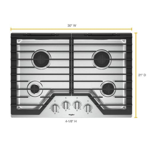 Whirlpool - 30-inch Gas Cooktop with EZ-2-Lift™ Hinged Cast-Iron Grates