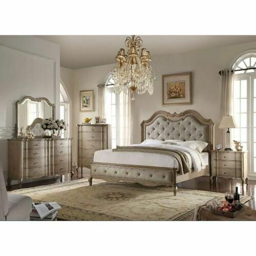 ACME Chelmsford Queen Bed - 26050Q - Beige Fabric & Antique Taupe