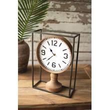 See Details - metal framed tabletop wooden clock