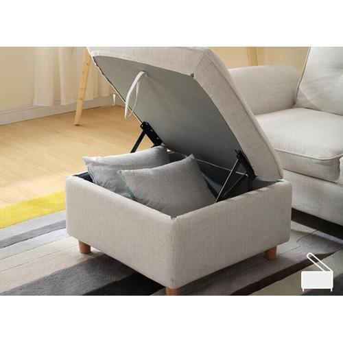 VIG Furniture - Divani Casa Jeremiah Modern Ivory Fabric Sofabed & Ottoman w/ Storage
