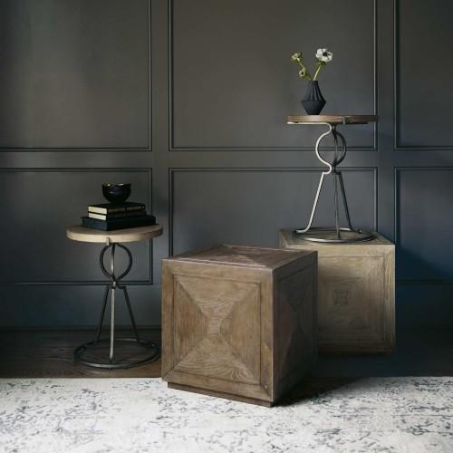 Rustic Patina Cube Table in Peppercorn (387)